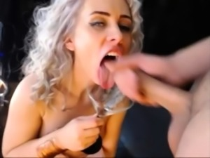 Busty amateur girlfriend full blowjob with facial cumshot