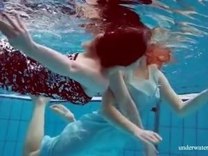 Damn cock-hardening underwater show of busty beautiful hottie Dashka