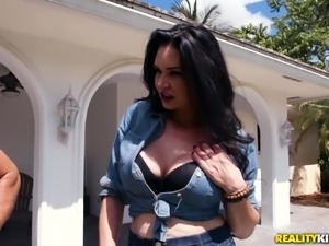 It was simply impossible for Elisa Morales to ignore the big bulge in her...