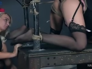 Tied up submissive hoe London River gets some wax session
