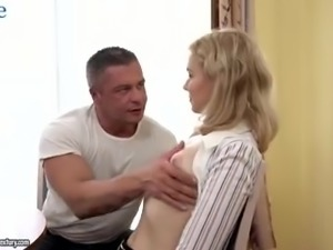 Lewd tutor seduces beautiful Russian blondie for steamy analfuck