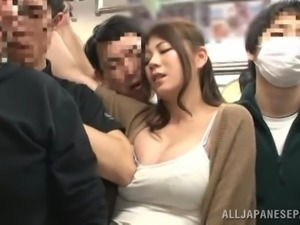 Nasty Japanese girl gets her ass touched in upskirt video