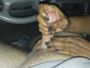 Ebony GF Strokes White Cock