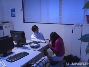 Japanese chick with a hot body sucking her employer's cock in his office