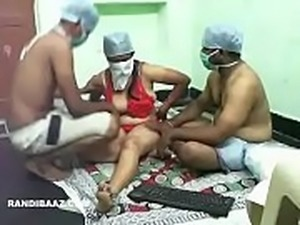 Indian nurse threesome fucking with colleagues