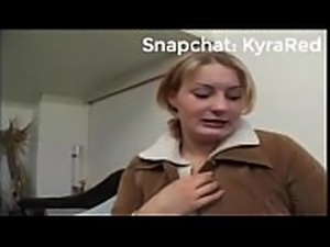 Chubby mature blonde female gives interview and undresses.mp4