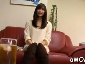 Needy asian milf gets enough wang to ruin her furry cunt