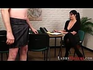 Cfnm boss shows big tits