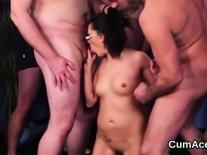 Wacky peach gets jizz load on her face swallowing all the ju