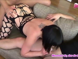 German Brunette natural tits and fish net threesome privat