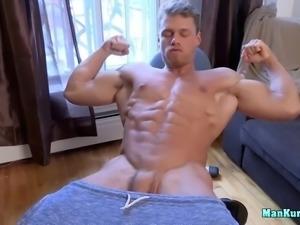hot muscled jock wanking cock