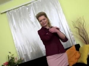 Naughty housewife Mirka playing with herself