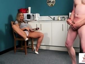 CFNM Britt instructs sub to wank in kitchen
