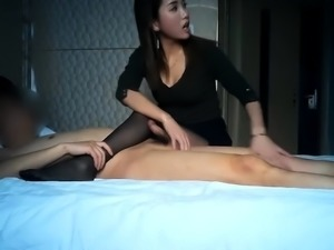 Pantyhosed Oriental cutie works her magic on a thick cock