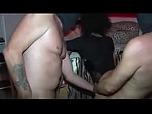 Gorgeous mother with big breasts fuck with five guys in gang fuck