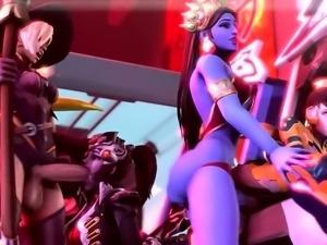 Three mesmerizing 3D babes indulge in futanari suck and fuck