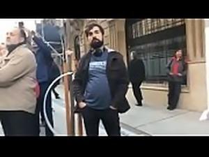Protestors get naked on street