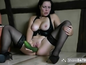 German slut with cucumber