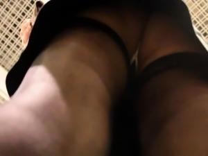 Slender amateur babe in stockings voyeur upskirt in public