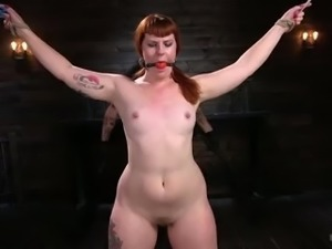 Crucified gagged redhead Barbary Rose gets tied up and masturbated