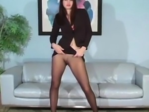 Perverted stretching of vagina hole in fancy pantyhose