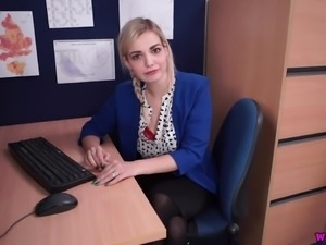 Lewd lusty office whore Dolly is eager to flash her ugly titties at work