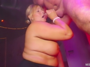GERMAN BBW GRANNY SEDUCE YOUNGER STRIPPER TO FUCK HER