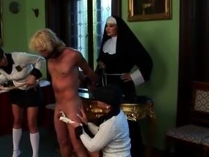 Nasty dominatrix sucks slave's hard cock and rides him rough