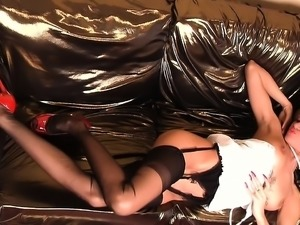Hot bitch with big boobs and stockings works her cunt