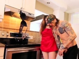 Thick housewife sucking cock in the kitchen