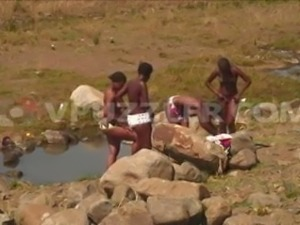 Zulu Girls Bathing in Pond.