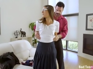 Picked up in the parking lot nerdy coed chick Tara Ashley is fucked doggy