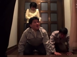 Lustful Japanese housewife has two guys banging her snatch