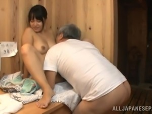 Steamy Brunette Gets Banged Hard By A Dirty Old Man