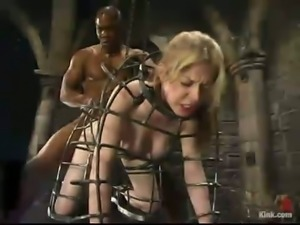 Rough Interracial Hardcore Fucking in Bondage Session for Haley Scott