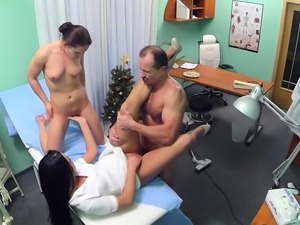 Hot fake doctor threesome with cumshot