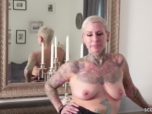 GERMAN SCOUT - SEDUCE TATTOO MILF CAT COX TO ANAL AT CASTING