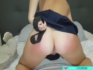 Nasty girl spank her own butt french amateur