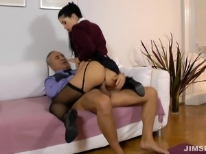 Old man loves fucking hot young lady