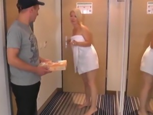 Naughty Amateur Mature Seduce and Fucks Young Pizza Boy