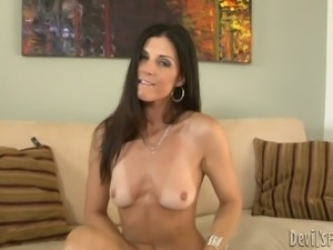 Hot Brunette Cougar Shows Her Tan Lines While Getting Naked