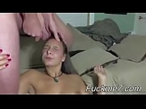 sloppy messy blowjob spiting on her face