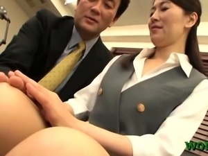 Undressed asian luscious cutie in office sex