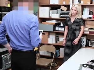 Blonde thief gets fucked in office by muscled guard