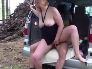 German female teacher fuck student in forest and eat sperm