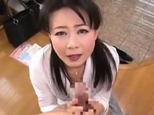 Japanese schoolgirl gives a pov blowjob