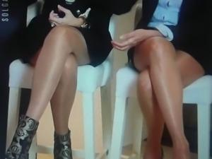 Stockings and white panty upskirt