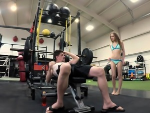 Stepsister Rides Stepbros Dick At Gym